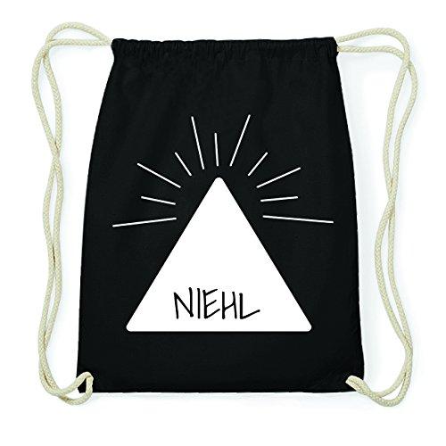 JOllify NIEHL Hipster Turnbeutel Tasche Rucksack aus Baumwolle - Farbe: schwarz Design: Pyramide