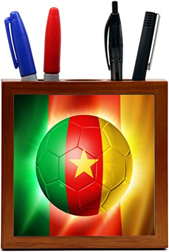 Rikki Knight Brazil World Cup 2014 Cameroon Team Football Soccer Flag Design 5-Inch Tile Wooden Tile Pen Holder (RK-PH44264) by Rikki Knight