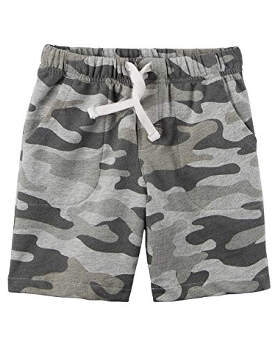 Carter's Little Boys' Pull-On French Terry Shorts (18 Months, Grey Camo)