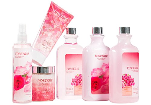 Pink Rose Bath Gift Set: body mist spray,body lotion,bath salts, shower gel, hand cream, bubble bath!