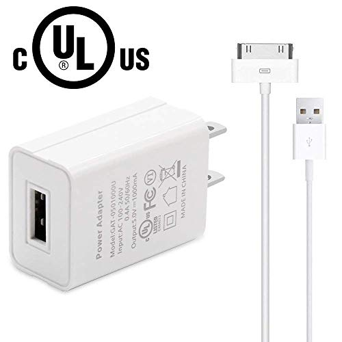 Charger, OoRage UL Listed Certified USB Adapter with 30 Pin USB Charging Cable Compatible iPhone 4/4s, iPhone 3G/3GS, iPad 1/2/3, iPod Touch 1/2/3/4