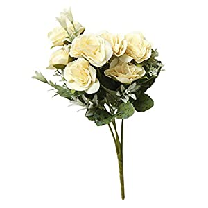Sunyasstor Artificial Flowers,8 Heads Artificial Fake Peony Silk Artificial Roses Garland Plant for Wreath Wedding Party Home Garden Wall Decoration 104