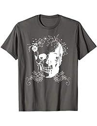 Halloween Skull + Flowers T-shirt, White - Easy Costume