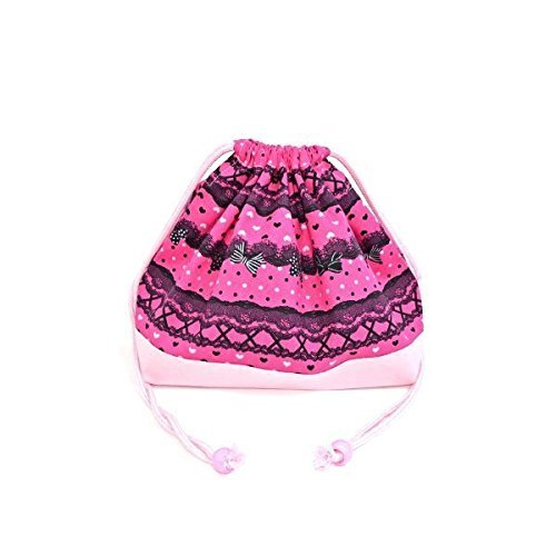Drawstring Gokigen lunch in the race and patterns (medium Größe) with gusset lunch bag ribbon Pretty cute (deep pink) x Ox pink made in Japan N3460500 (japan import)