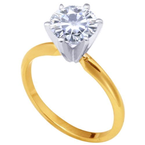 Stunning! 14k Yellow gold 7.50mm (1.35CT Actual Weight, 1.50CT Diamond Equivalent Weight) Moissanite Solitaire 6 Prong Engagement Ring by Vicky K Designs