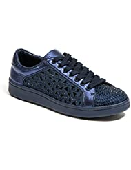 Lady Couture Laser Cut Sneakers With Rhinestone Womens Shoes, Paris