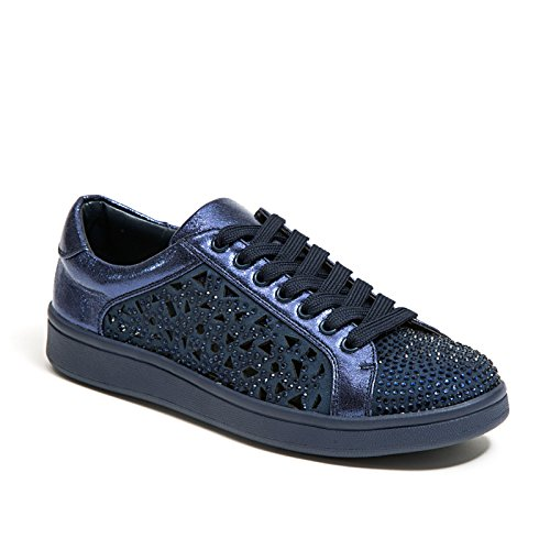 Lady Couture Laserskurna Sneakers Med Strass Kvinnor Skor, Paris Navy