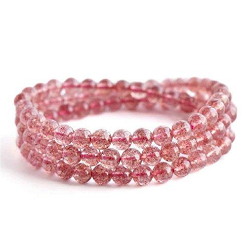 LiZiFang 7mm Genuine Natural Strawberry Quartz Crystal Round Bead Woman Bracelet