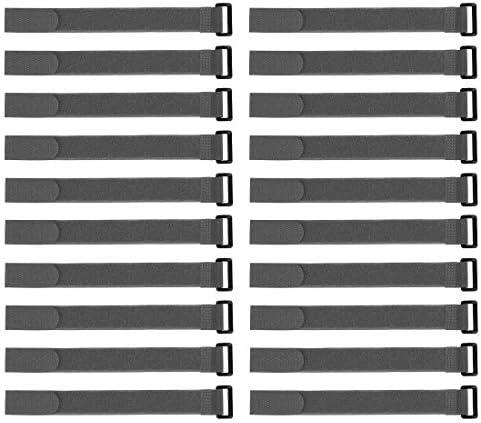 uxcell フックとループのストラップ 25mm x 300mmストラップ固定 再利用可能な固定ケーブルタイ(グレー)20個
