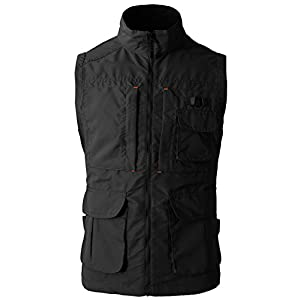 H2H Men's Plus Big and Tall Fishing Photographer Mesh Vest Outdoor Waistcoat Black US M/Asia L (KMOV081)