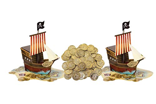 Pirate Ship Map Birthday Party Supplies Pop up Centerpiece Plus 50 Gold Coins Decorations Pack (2 centerpeices and Gold Coins, Multi)