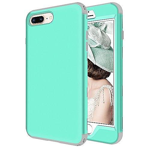 f90858e62b iPhone 8 Plus Case, KAMII 3in1 Shockproof Hybrid Plastic Soft Skin Silicone  High Impact Anti