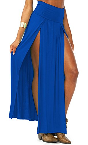 AvaCostume Womens High Waist Double Slit Solid Maxi Skirt, Blue Double Slit Skirt