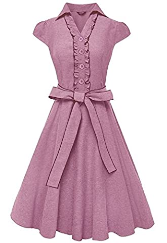 Peach Couture 100% Cotton Ruffle Neck Self Tie Cap Sleeve Knee Length Sundress Pink Small - Couture Formal Dresses
