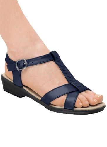 T-Strap Sandal, Color Navy, Size 10 M