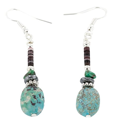 Native-Bay Delicate Authentic Made by Charlene Little Navajo Silver Hooks Dangle Natural Turquoise Hematite American Earrings