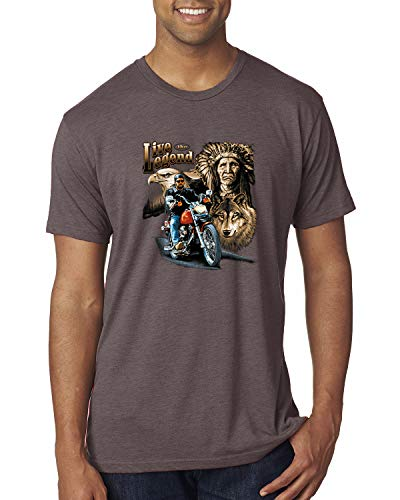 Ride The Legend | Motorcycle USA Wolf | Mens American Pride Premium Tri Blend T-Shirt, Brown, Large