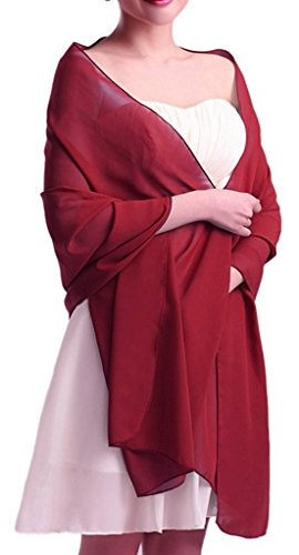 VIPbridal Womens Soft Wrap bufanda chal de gasa noche nupcial Borgoña