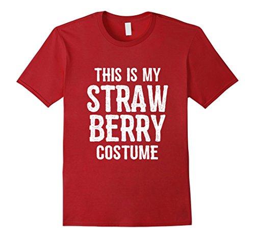 [Mens Strawberry Costume TShirt - Funny Easy Halloween Costumes Medium Cranberry] (Strawberry Costume Man)