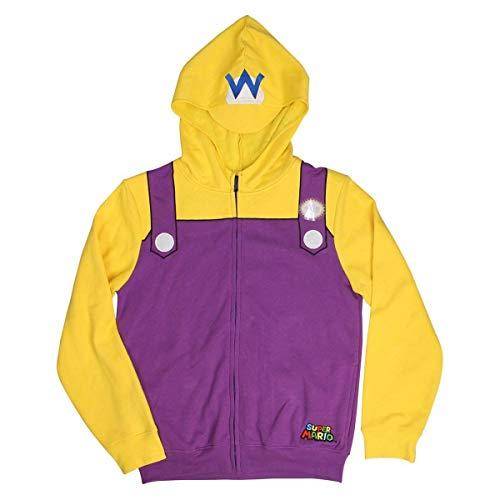 Nintendo Men's Wario Adult Costume Hoodie, Purple/Yellow, Medium