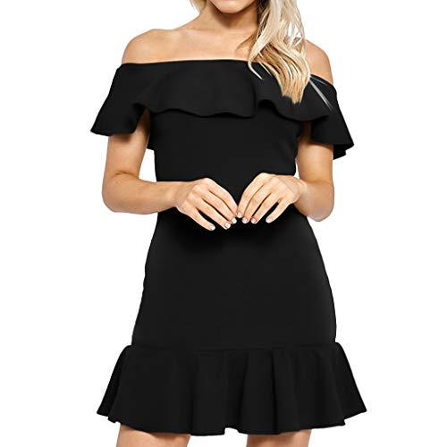 iNoDoZ Women's Solid Casual Off Shoulder Ruffle Sleeve Short Sleeve Mini Dress ()