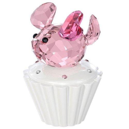 Swarovski Crystal Cupcake with Pink Mouse Figurine
