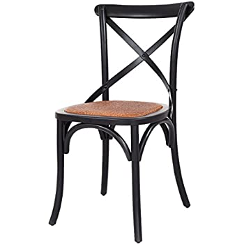 Costway Cross Back Antique Style Dining Chair Birch Frame With Rattan Seat ( Black)