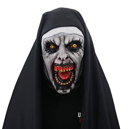 Clearance Sale!UMFun Halloween Scary Mask Props The Conjuring Devil Nun Horror Masks With Costume (C) -