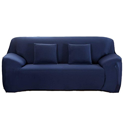 Waligastore Polyester Stretch Slipcover Chair Loveseat Sofa Available 1 2 3 4 Four People, without Pillowcase (Navy, (2 Seat Leather Sofa)