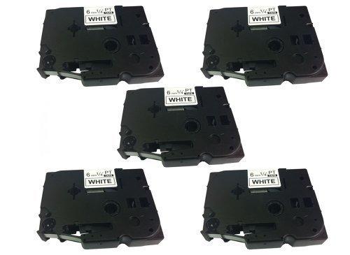 ® Eseller Direct Kompatible Ersatz-KleBestereifen-Etiketten TZ211 für Brother P-Touch PT - 2030VP - 6 mm breit x 8° m lang, 5 Schwarz auf Weiß)