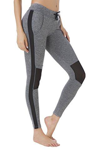 Queenie Ke Women Power Tech Mesh High Waist Gym Yoga Leggings Running Tights Size L Color Top - Mesh Bra Spandex