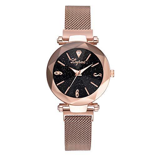 (Amaping Women Luxury Starry Sky Pattern Crystal Quartz Wrist Watch (Light Brown))