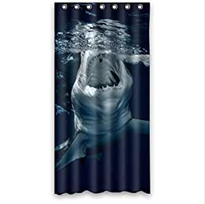 Beautiful Underwater Predators Shark Pattern Design Custom 100% Polyester Waterproof Shower Curtain 36 x 72