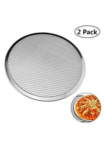 Pizza Pan With Holes Seamless Aluminum Pizza Screen Non-Stick Tray Tool Chef's Baking Screen 2 Pack 6-18 inches - 18 Aluminum Inch Screens Pizza
