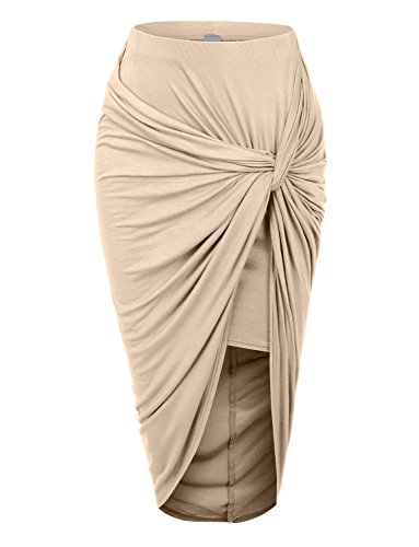 RubyK Womens Asymmetrical Banded Waist Wrap Cut Out Hi Low Maxi Skirt,Medium,MOCHA