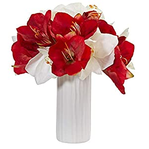 Nearly Natural 1860-AS Amaryllis Artificial White Vase Silk Arrangements Assorted 38