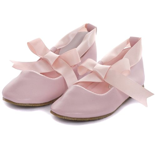 9 Pink Ballerina Ribbon Tie Rubber Sole Shoes (Galore Pink Ribbon)