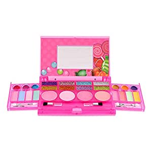 Sweet Glitz - Kids Pretend Play Makeup Kit - Designer Girls Makeup Palette for Kids - Packed In a Cute Colorful Vanity w/Mirror- Non-Toxic and Washable