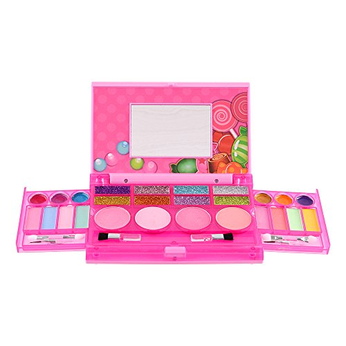 Cute Costumes Ideas For A Group (Sweet Glitz - Kids Pretend Play Makeup Kit - Designer Girls Makeup Palette for Kids - Packed In a Cute Colorful Vanity w/ Mirror- Non-Toxic and Washable)