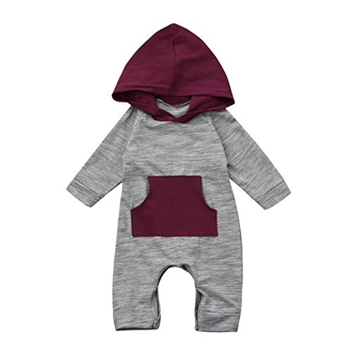 FEITONG Toddler Baby Boy Girl Hooded Romper Jumpsuit Clothes Outfits (3Month, Gray)