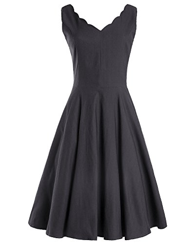 OUGES Womens Scalloped V-Neck Vintage Fit and Flare Cocktail Dress