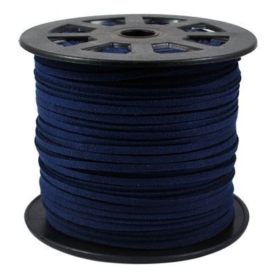 BeadsTreasure Dark Blue Suede Cord Lace Leather Cord For Jewelry Making 3x1.5 mm-20 Feet. - Blue Leather Cord