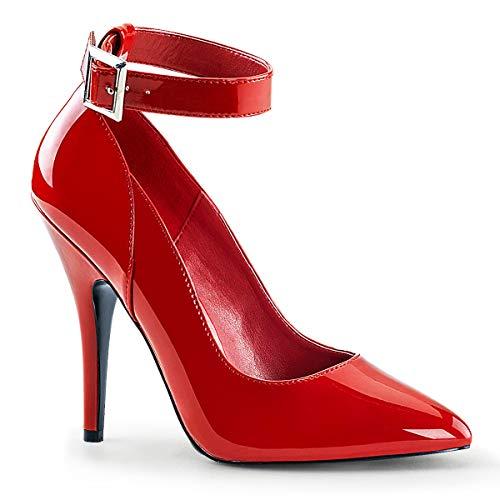 - Pleaser Women's Seduce-431 Anke-Strap Pump,Red Patent,14 M US