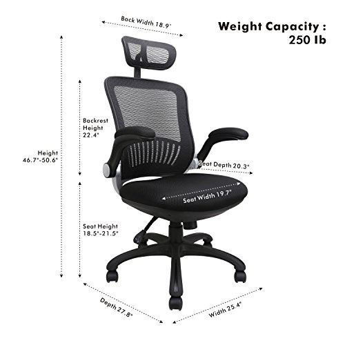 Office Chairs, Komene Ergonomic Mesh Desk Chairs High Back Computer Task Chairs with Adjustable Backrest, Headrest, Armrest and Seat Height for Conference Room by Komene (Image #5)