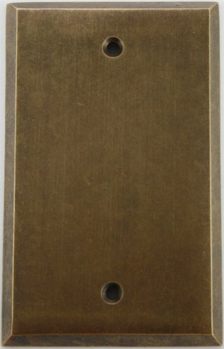 Aged Antique Brass Single Gang Blank Wall Plate