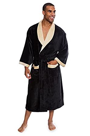 Men's Terry Cloth Bath Robe - Comfortable Gift for Him by Texere (Turilano, Black, Large/X-Large) Holiday Gift for Guys MB0102-BLK-LXL