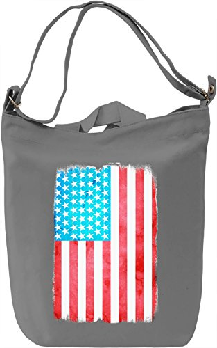 USA Flag Borsa Giornaliera Canvas Canvas Day Bag  100% Premium Cotton Canvas  DTG Printing 