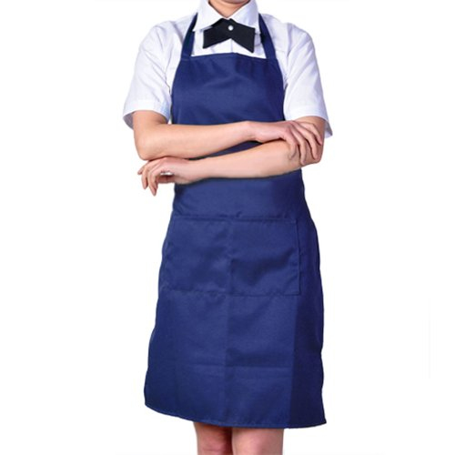 Womens Chefs Butchers Kitchen Cooking Craft Baking Apron with Front Pocket (Dark Blue)