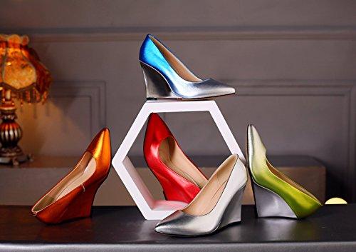Shoes Slip Court vadxpg Closed 9CM Gold Heel Women 6 Toe UK on Wedge Vaneel Cw5vqxz