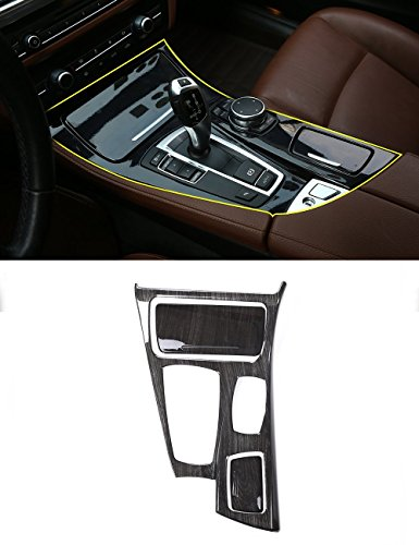 Left Drive Black Wood Grain Center Console Gear Shift Panel Cover Trim For BMW 5 Series ()